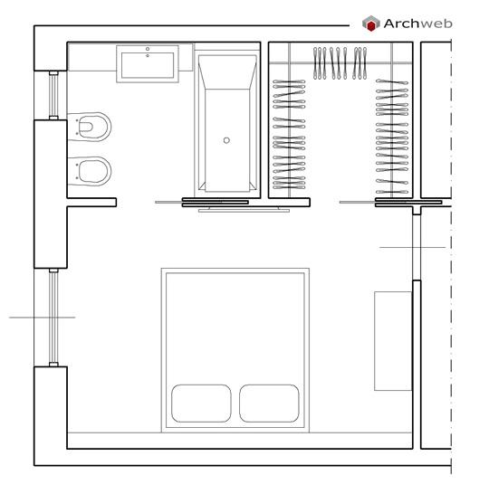 camera da letto con cabina armadio e bagno