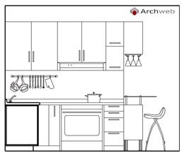 Cucine prospetti e sezioni kitchen elevation for Cucine 3d dwg