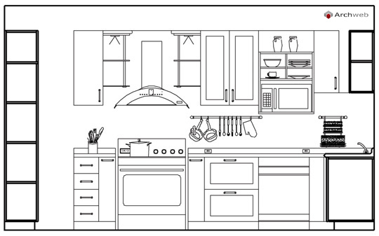 Kitchen elevation dwg drawings for Arredi cad
