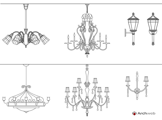 Lampadari classici dwg lamps drawings for Archweb arredi