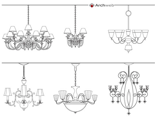 Classic chandeliers drawings for Archweb arredi