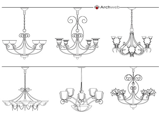 Classic chandeliers drawings for Arredi 3d dwg