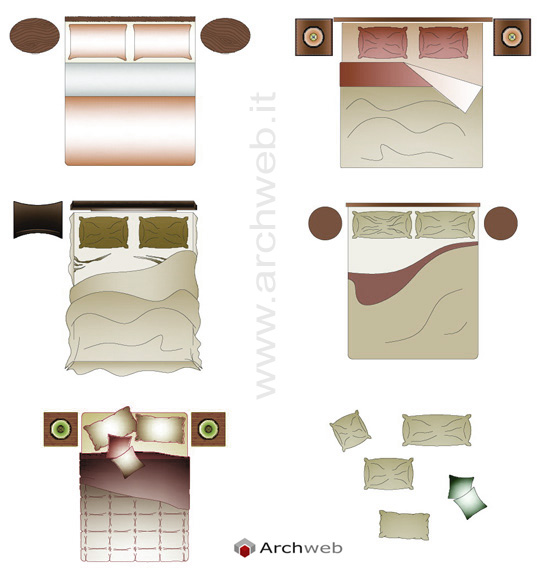 Double bed drawings for Letto 3d dwg