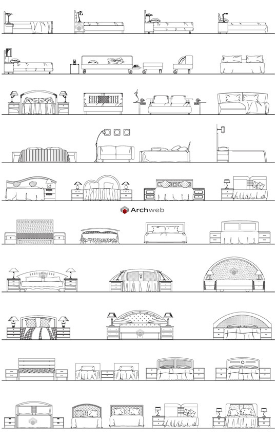 Drawings of beds beds design elevations for Divani design dwg
