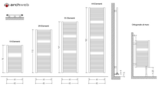 scaldasalviette dwg heated towel rail drawings