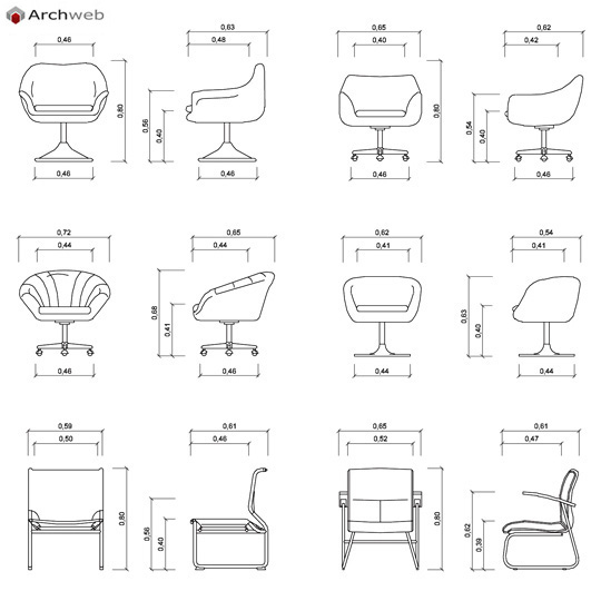 Sedie 2d in prospetto dwg chairs in the prospect for Archweb uffici