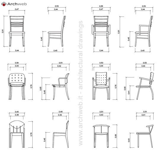 Sedie 2d in prospetto dwg chairs in the prospect for Sedie design 3d