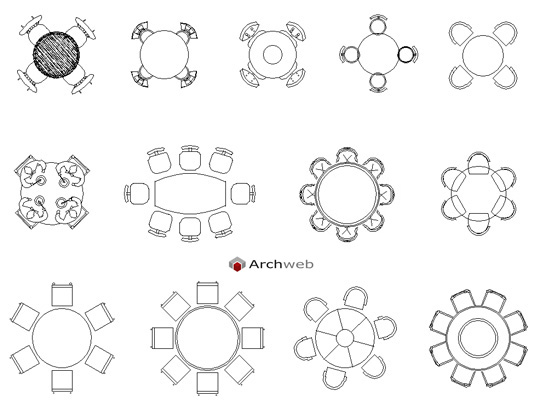 Round tables drawings for Tavoli ristorante dwg