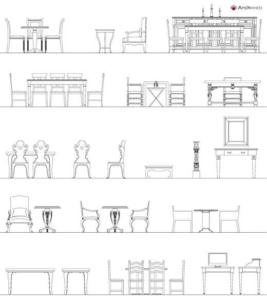 Tavoli e sedie d 39 epoca dwg for Arredi per autocad