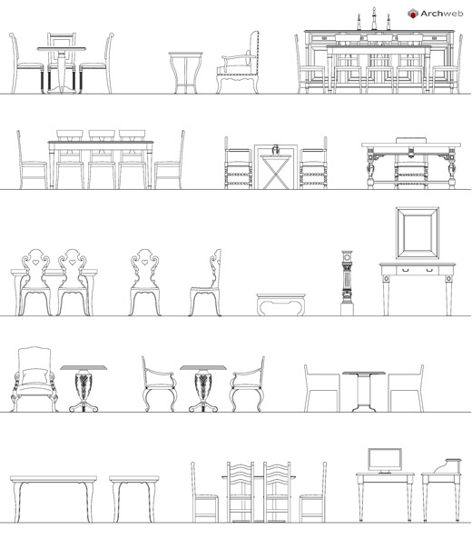 Tavoli e sedie d 39 epoca dwg for Arredi autocad