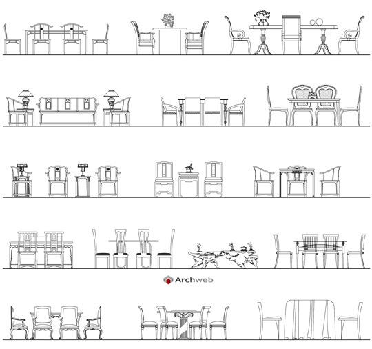Tavoli e sedie d 39 epoca dwg for Arredi cucina dwg