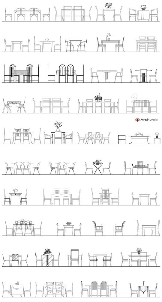 Tavoli in prospetto autocad dwg for Arredi autocad