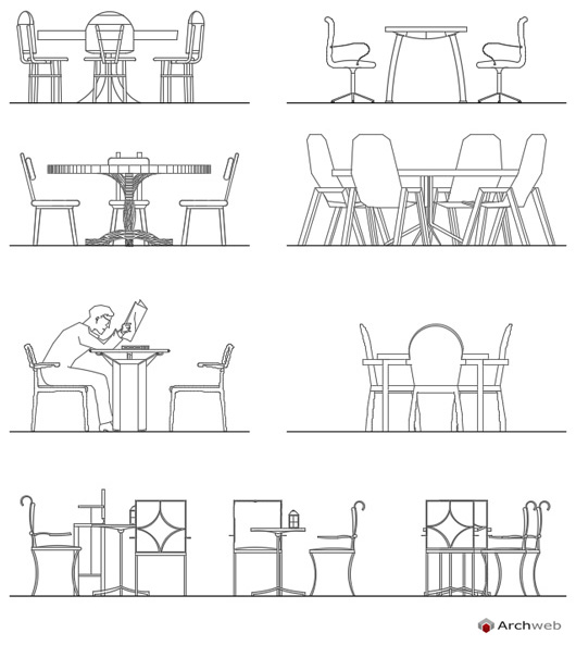 Tables and chairs dwg drawings for Arredi dwg gratis