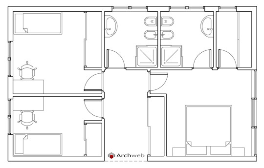 Letto zona notte dwg sleeping area - Letto singolo dwg ...