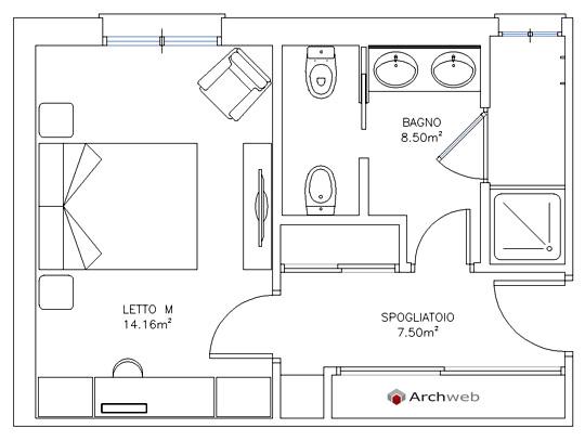 Schemi progetto zona notte sleeping area - Camera da letto dwg ...