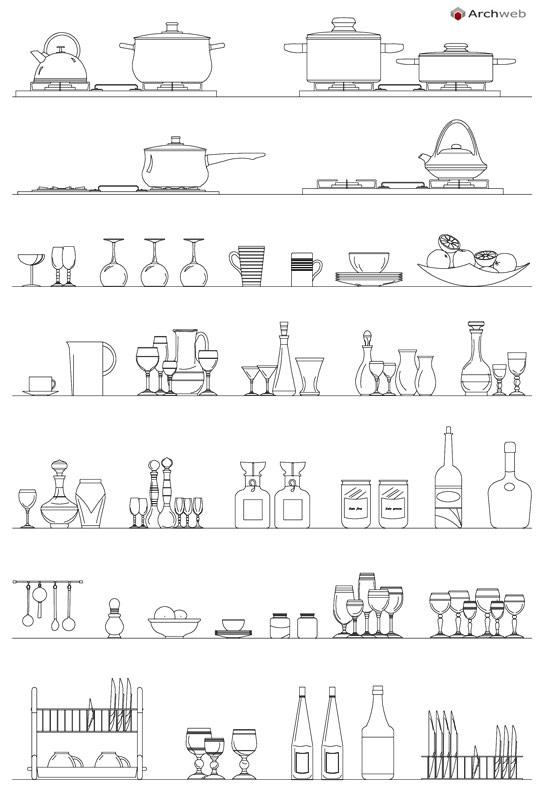 Accessori per la cucina dwg kitchen accessories for Cucine 3d dwg
