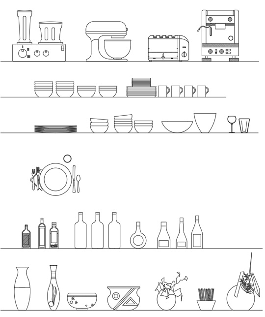 Accessori per la cucina dwg - kitchen accessories