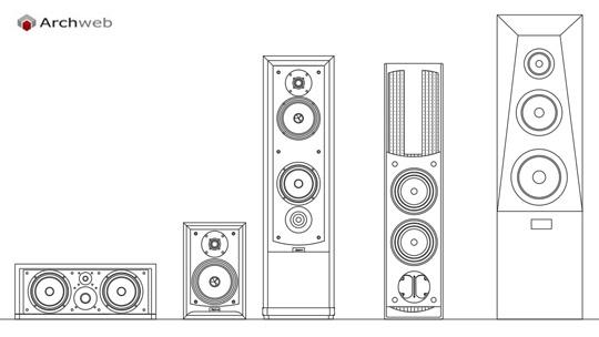 Casse diffusori stereo hi fi - Finestre prospetto dwg ...