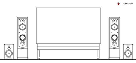 Televisori con basamento e diffusori dwg for Autocad arredi