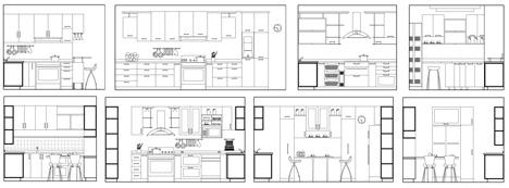 Arredi per cucina - sezioni e prospetto di composizioni funzionali