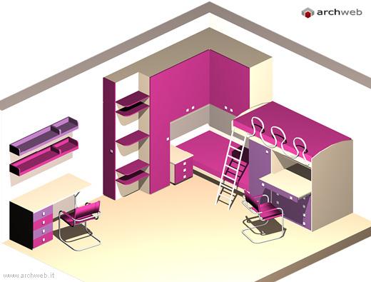 Camerette per ragazzi 3d model - Camera da letto dwg ...