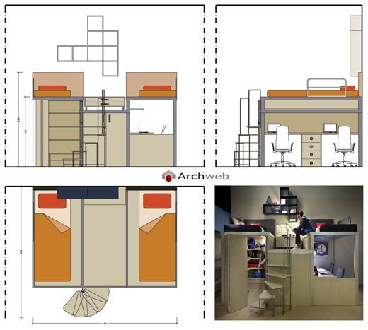 Camerette per ragazzi su 2 livelli disegni dwg - Camera per due ragazzi ...