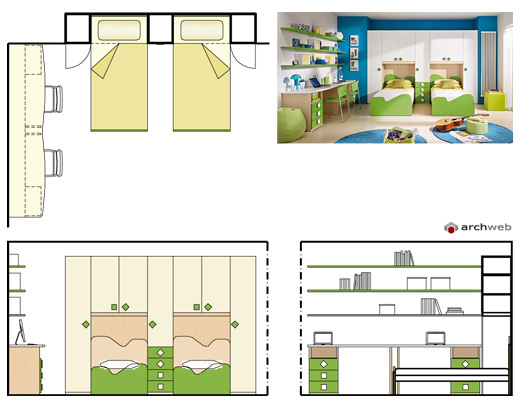 Camerette per ragazzi disegni dwg for Arredi design dwg
