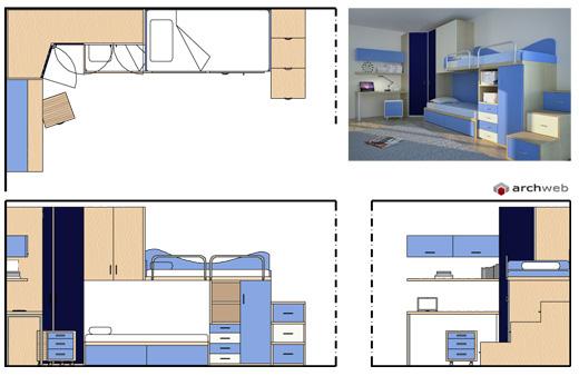 Cameretta ragazzi con doppio letto, doppio armadio, scrivania con ...