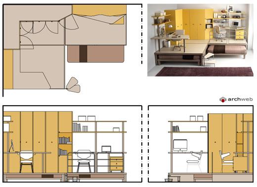 Camerette per ragazzi disegni dwg for Camere da letto per ragazzi