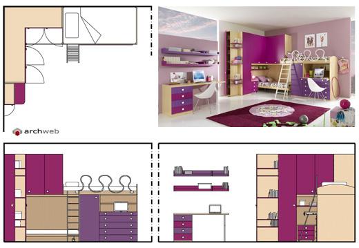 Camerette per ragazzi disegni dwg for Quanto costerebbe una casa con 5 camere da letto