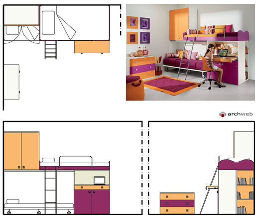 Camerette per ragazzi disegni dwg for Letto 3d dwg