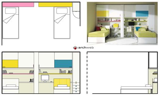 Camerette per ragazzi disegni dwg - Camera da letto dimensioni ...