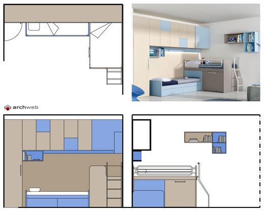Camerette per ragazzi disegni dwg - Dimensioni minime camera da letto ...