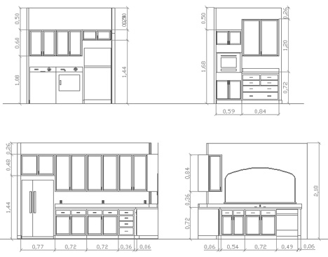 Cucine 2d disegni di cucine in dwg 3 for Blocchi cad arredi di interni