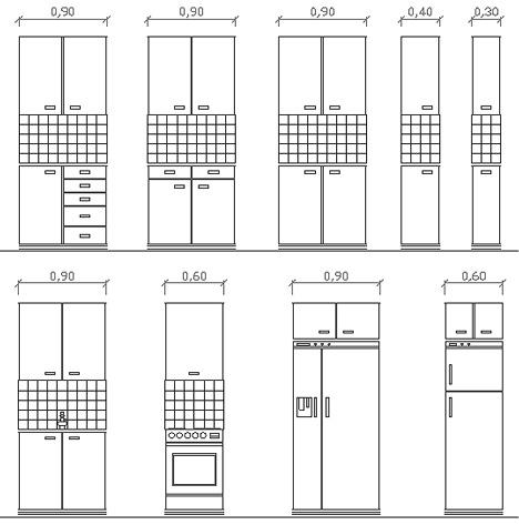 Moduli Di Una Cucina In Prospetto   Disegni In Scala 1:100