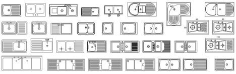 cucine 2d - disegni di cucine in dwg (1) - Dimensioni Lavelli Cucina