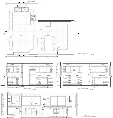 Progetto completo di una cucina - scala 1:20
