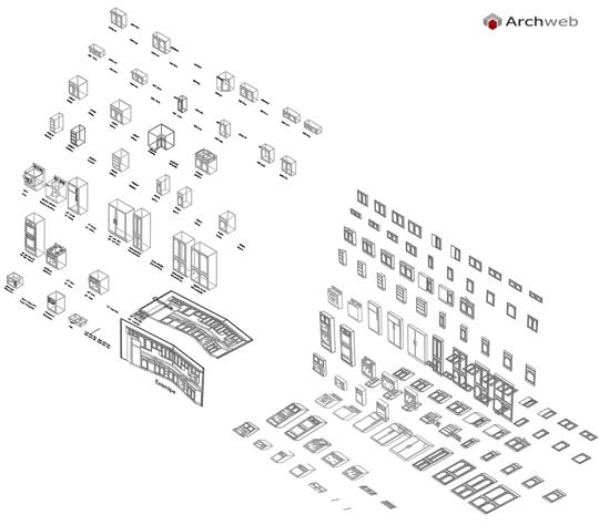 cucine componenti 3D - cucine dwg