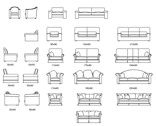 Couches autocad elevations for Divani archweb