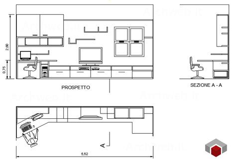 Pareti attrezzate 2d mobili per soggiorno for Arredi per autocad