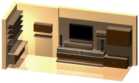 Pareti attrezzate 3D - Mobili per soggiorno dwg
