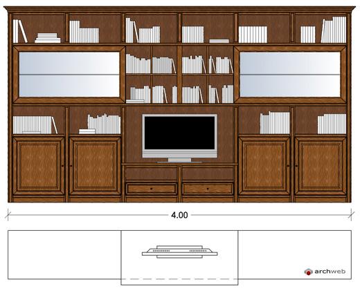Pareti attrezzate classiche 2d mobili per soggiorno for Parete attrezzata dwg