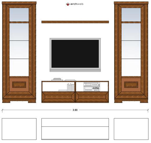 Pareti attrezzate classiche 2d mobili per soggiorno for Soggiorno dwg