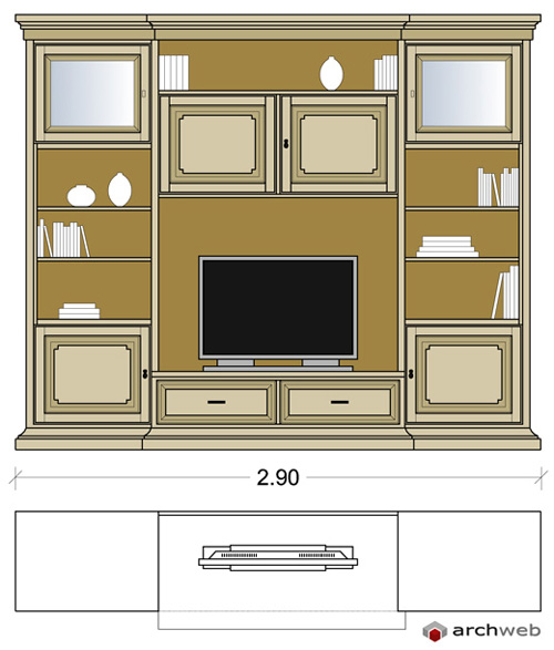 Pareti attrezzate classiche 2d mobili per soggiorno - Mobili pareti attrezzate classiche ...