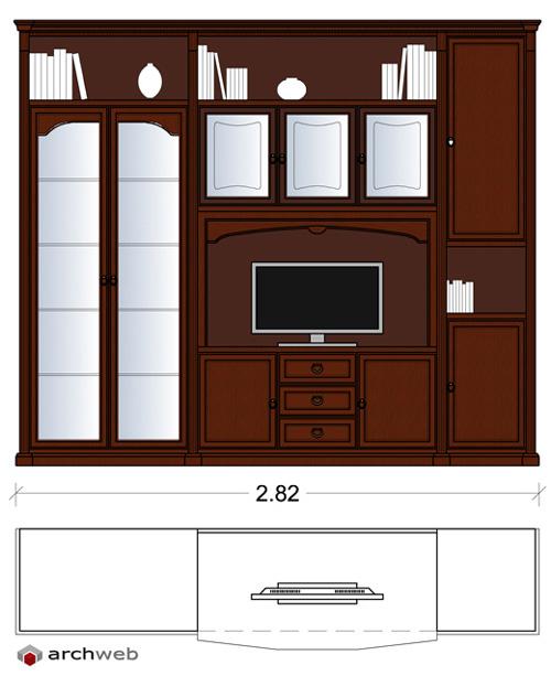 Pareti attrezzate classiche 2d mobili per soggiorno for Arredi per pareti