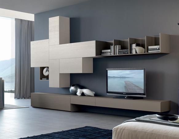 Pareti attrezzate moderne 2d mobili per soggiorno for Pareti moderne