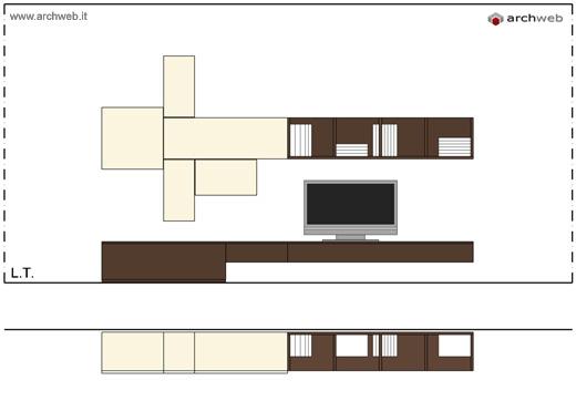 Pareti attrezzate moderne 2d mobili per soggiorno for Archweb cucina