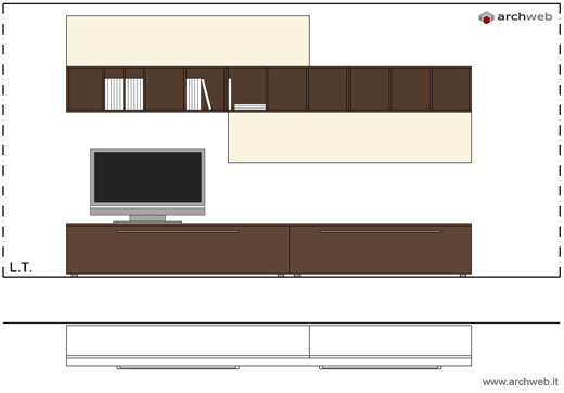 Pareti attrezzate moderne 2d mobili per soggiorno for Mobili 3d dwg