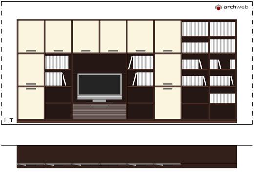 pareti attrezzate moderne 2d - mobili per soggiorno - Arredo Soggiorno Moderno Dwg