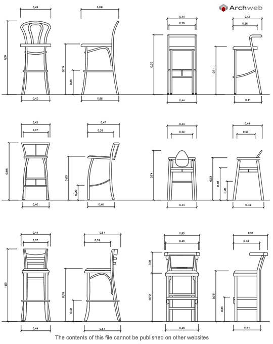 Stools cad blocks for Arredi cad